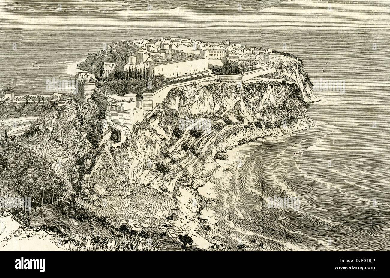 Geografia / viaggi, Monaco, vista del castello e della città e incisione su legno circa 1880 , Additional-Rights Immagini Stock