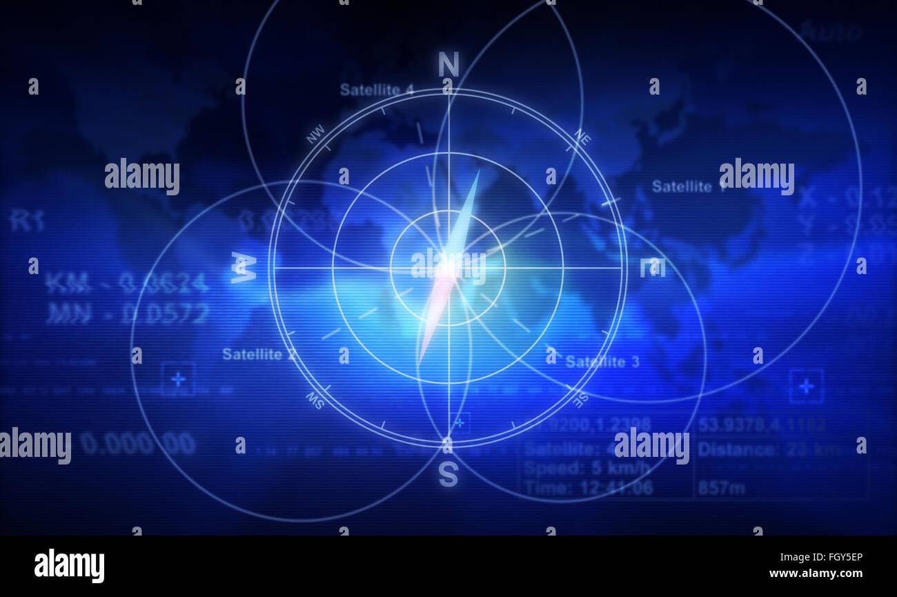 Bussola, i numeri e la mappa del mondo Immagini Stock