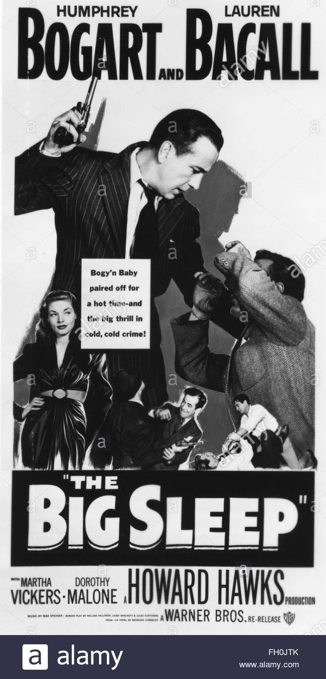 Il BIG SLEEP (1946) - Poster per film noir interpretato da Humphrey Bogart e Lauren Bacall. La cortesia Granamour Immagini Stock