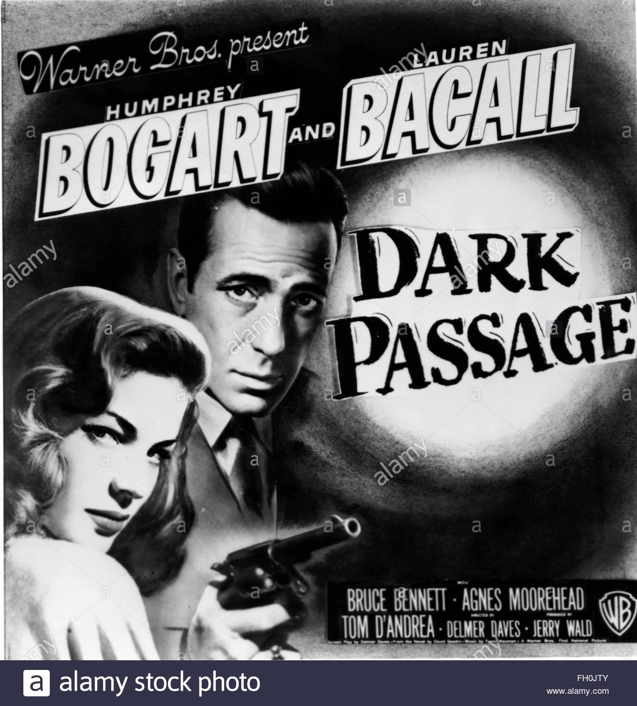 DARK PASSGE (1947) - Poster per film noir interpretato da Humphrey Bogart e Lauren Bacall. La cortesia Granamour Immagini Stock