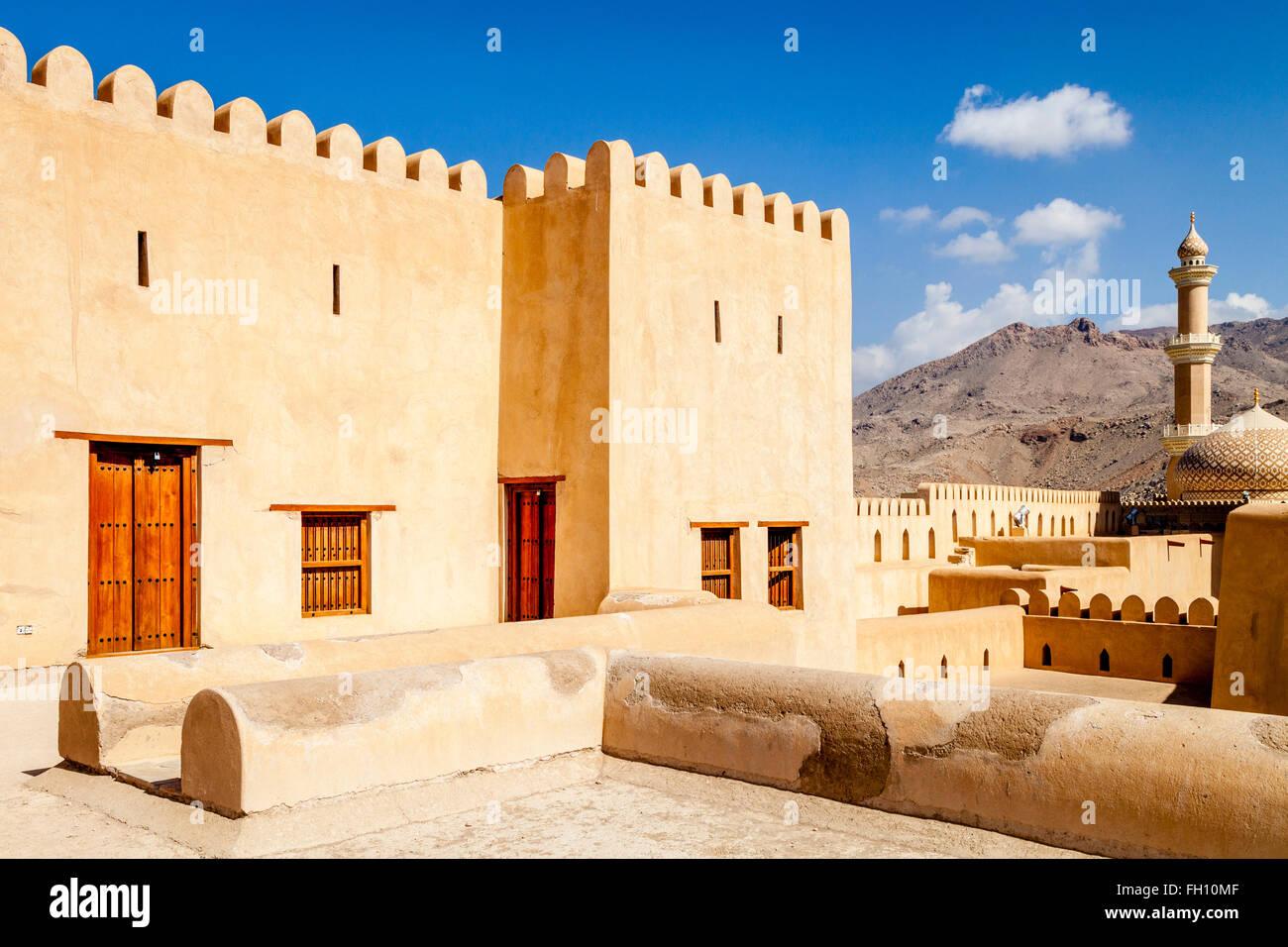 La Nizwa Fort, Nizwa, Ad Dakhiliyah Regione, Oman Immagini Stock