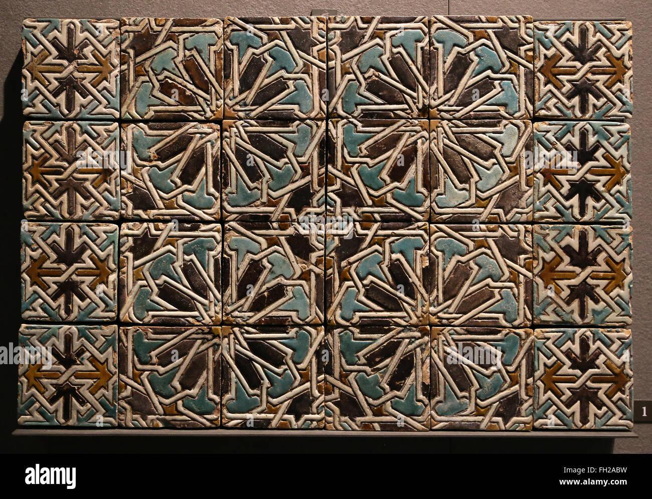 Parete in ceramica piastrelle xv xvi secolo il marocco il museo
