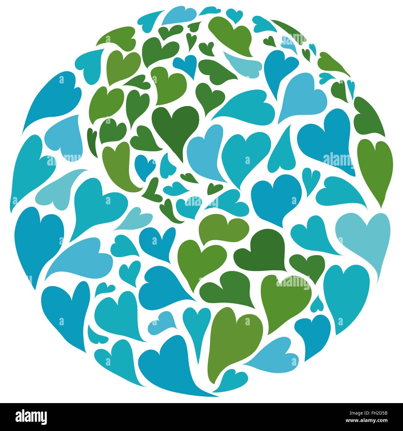 Il pianeta terra fatta di cuori. simbolo della pace. america nel centro. Immagini Stock