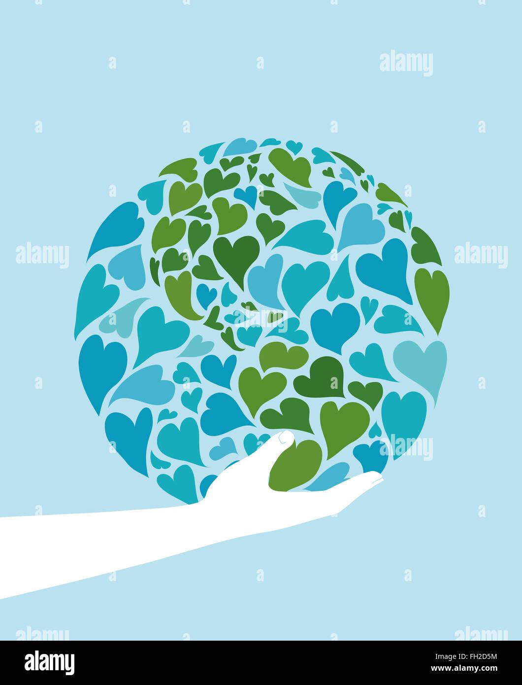 Mano che regge il pianeta terra fatta di cuori. simbolo della pace. america nel centro. Immagini Stock