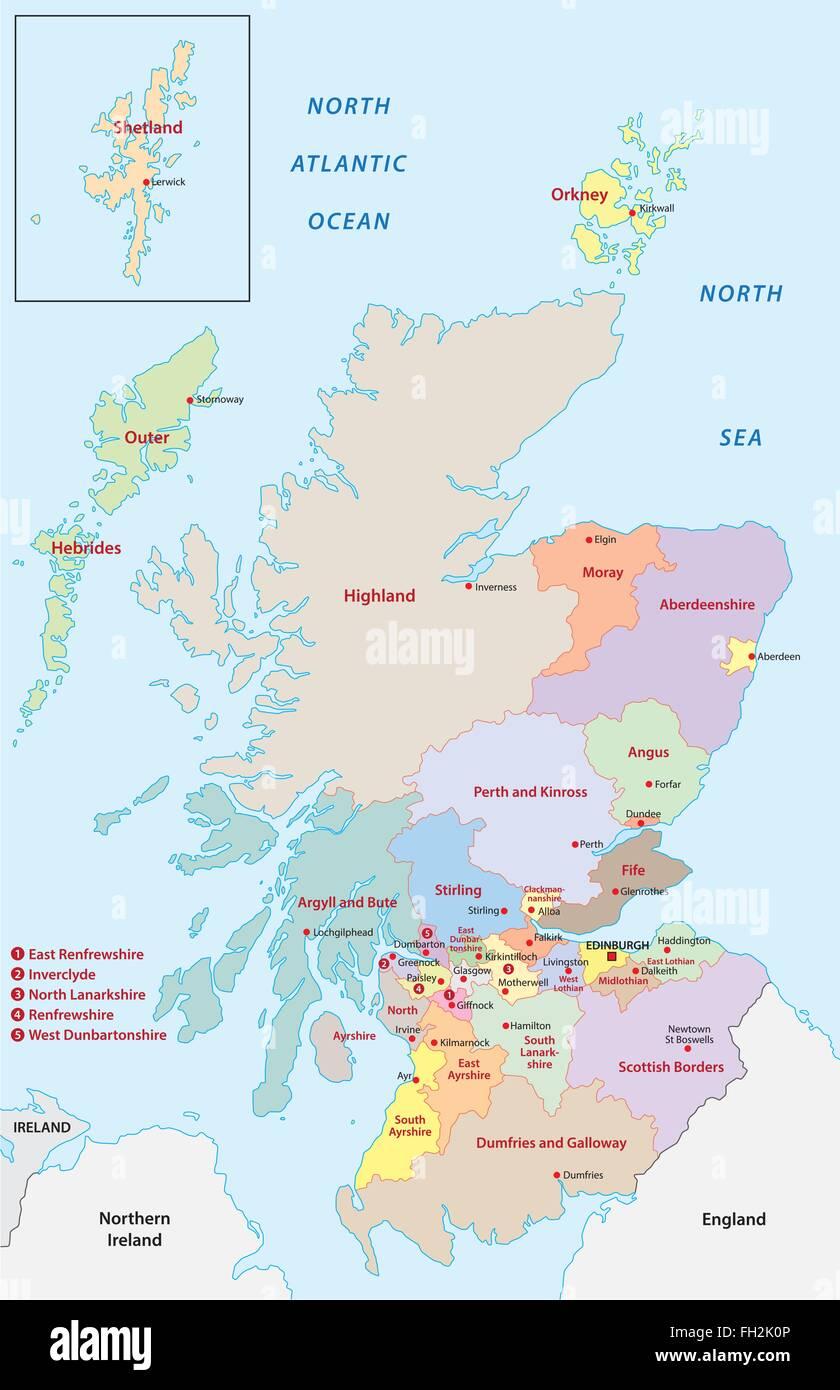 Cartina Scozia Dettagliata.Scozia Mappa Amministrativa Immagine E Vettoriale Alamy