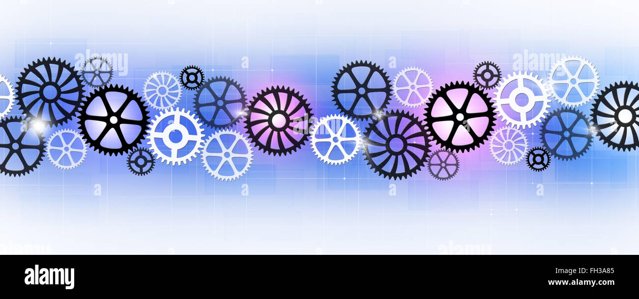 Abstract technology business banner con gli ingranaggi di movimento Immagini Stock