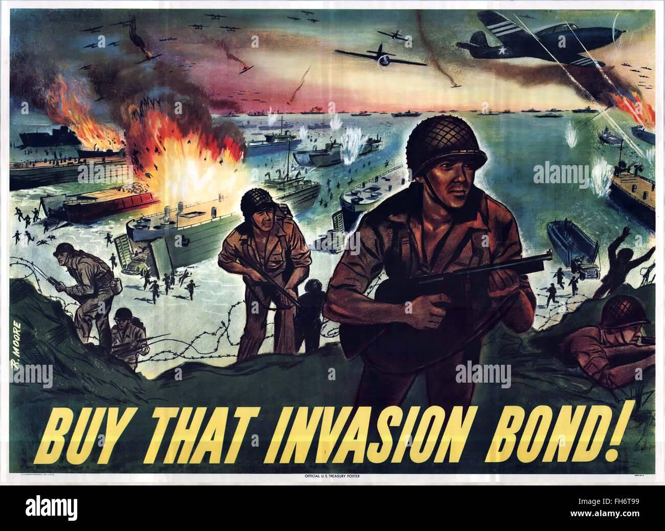 Normandia - acquistare quel legame di invasione ! - Noi Propaganda Poster - SECONDA GUERRA MONDIALE Immagini Stock