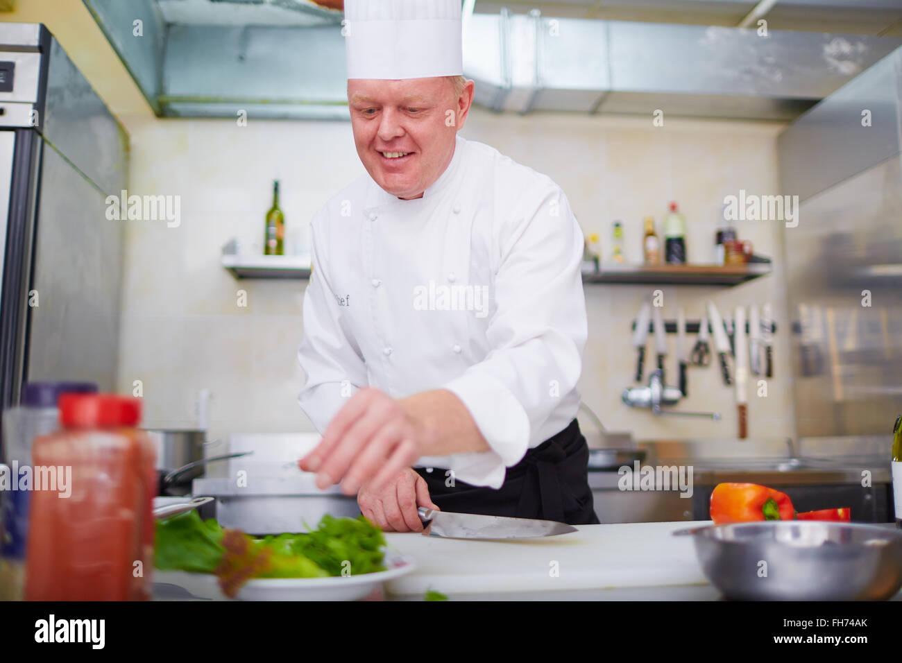 Lo chef cucinare il cibo gustoso in cucina Immagini Stock