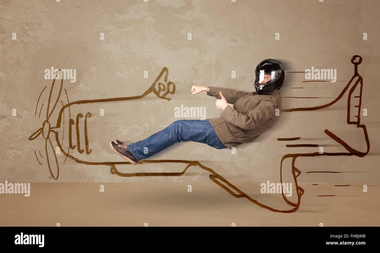Divertente di pilotaggio pilota disegnato a mano aereo sulla parete Immagini Stock