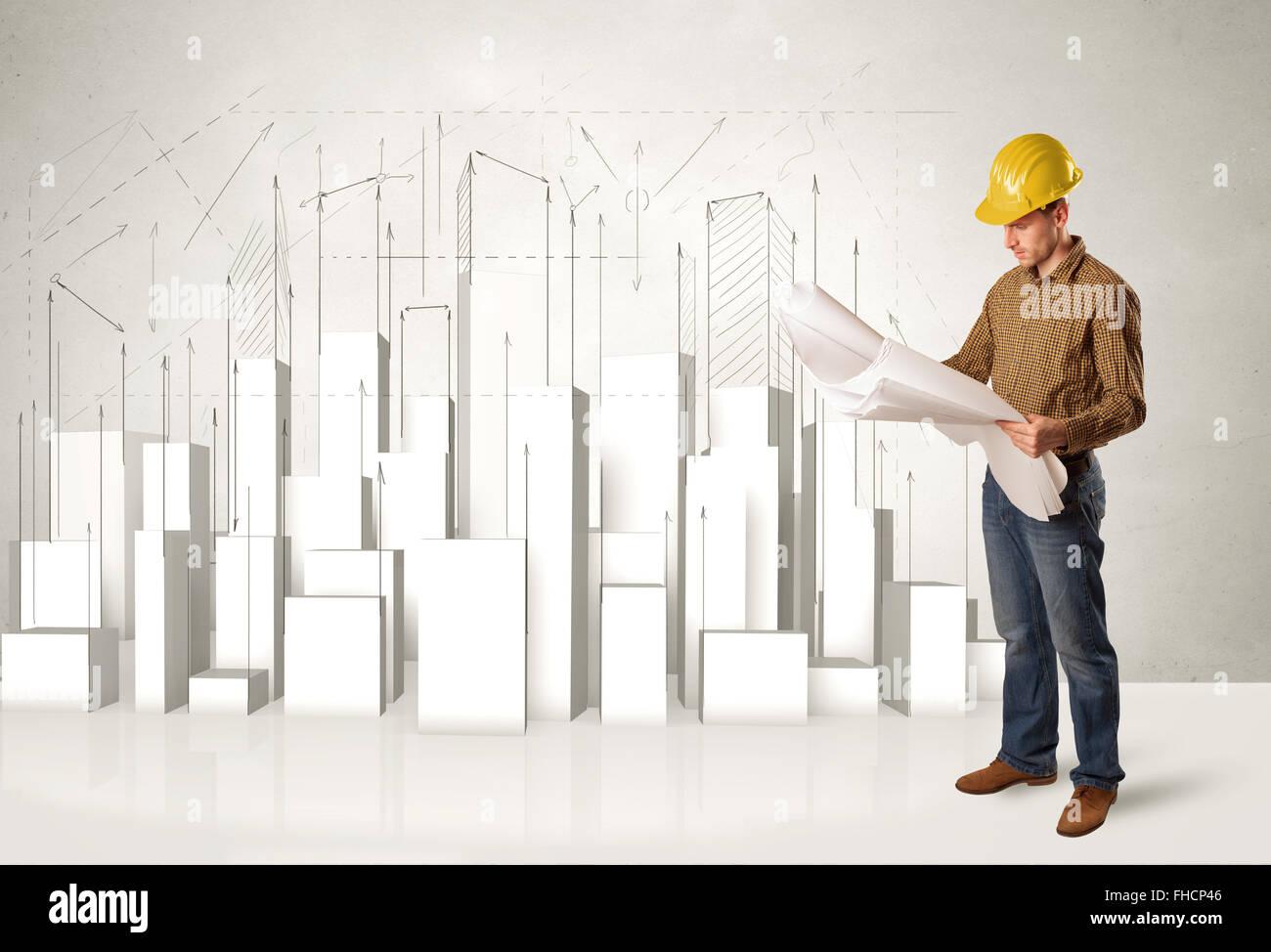 Operaio edile planante con gli edifici 3d in background Immagini Stock