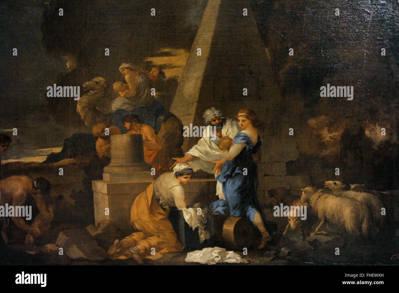 Sebastien Bourdon (1616-1671). Pittore Francese. Giacobbe il Seppellimento di Labano immagini. Lo stato Museo Hermitage. Immagini Stock