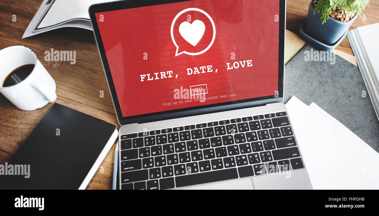 Flirt Data Valantine amore romantico cuore passione Concept Immagini Stock