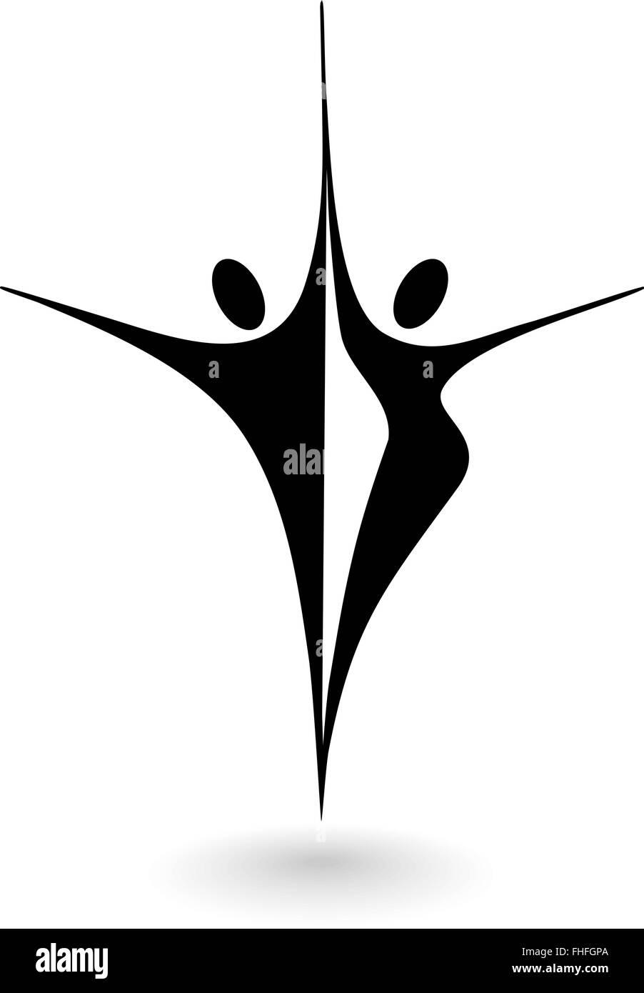 Il Logo Stilizzato Con Un Maschio E Femmina Di Figura Illustrazione