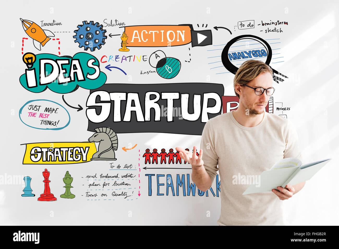 Avviare la crescita aziendale lanciare il concetto di aspirazione Immagini Stock