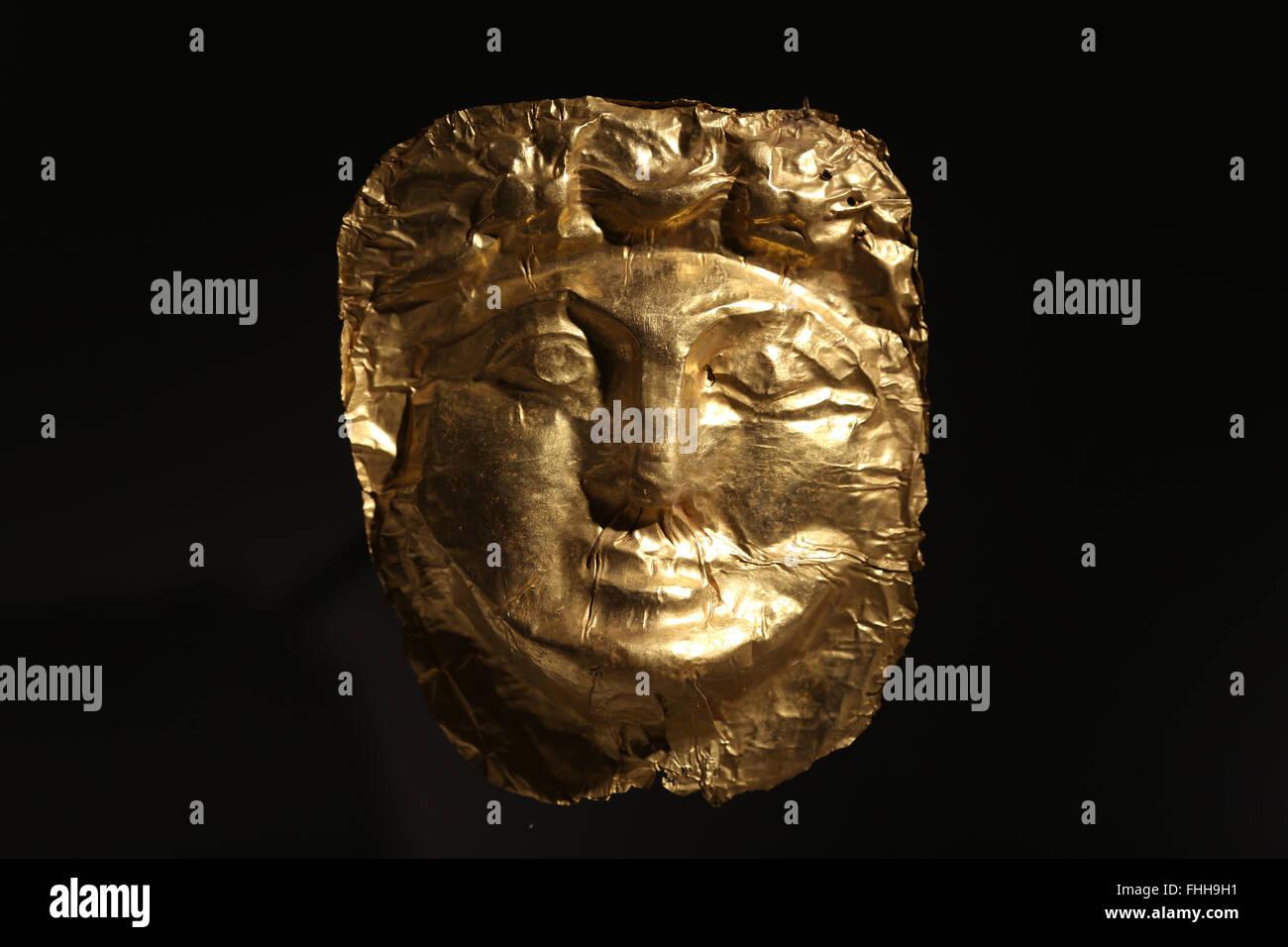 Pratiche funerarie. Nelle province orientali dell'Impero Romano. Vicino orientale. Maschera d'oro. Levantino Immagini Stock