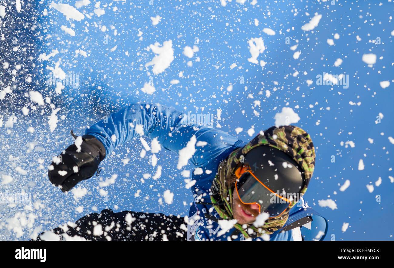 Wyller Oslo Winter Park, Oslo, Norvegia. Il 25 febbraio, 2016. X Games Oslo 2016. Mens SuperPipe Snowboard Round Immagini Stock