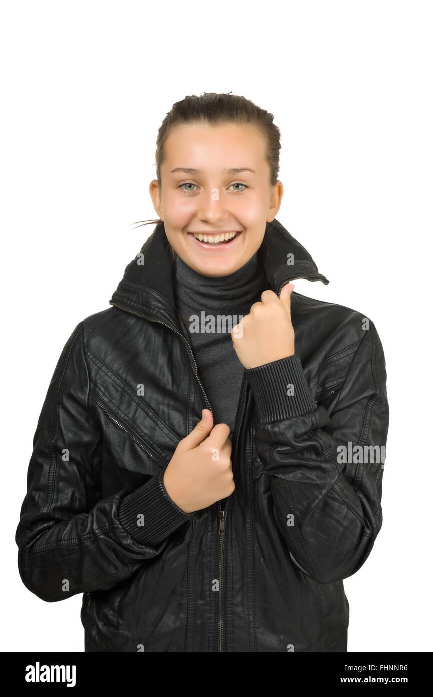 hot sales de1ff 970ef Felice giovane ragazza in un nero giacca di pelle Foto ...