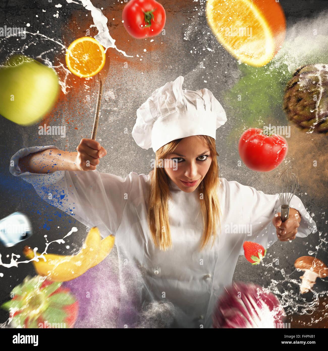 Arrabbiato e lo chef più esigenti Immagini Stock