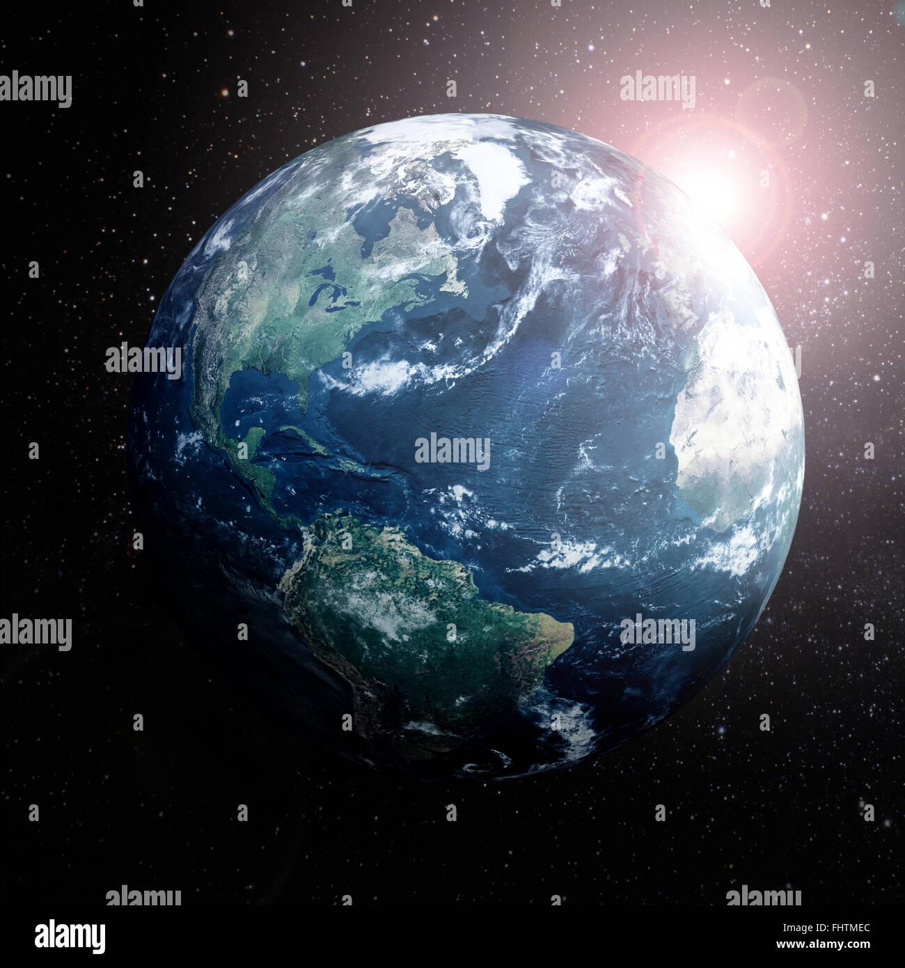 La terra nello spazio che mostra l'Europa,dell Asia e dell Africa. Immagini Stock