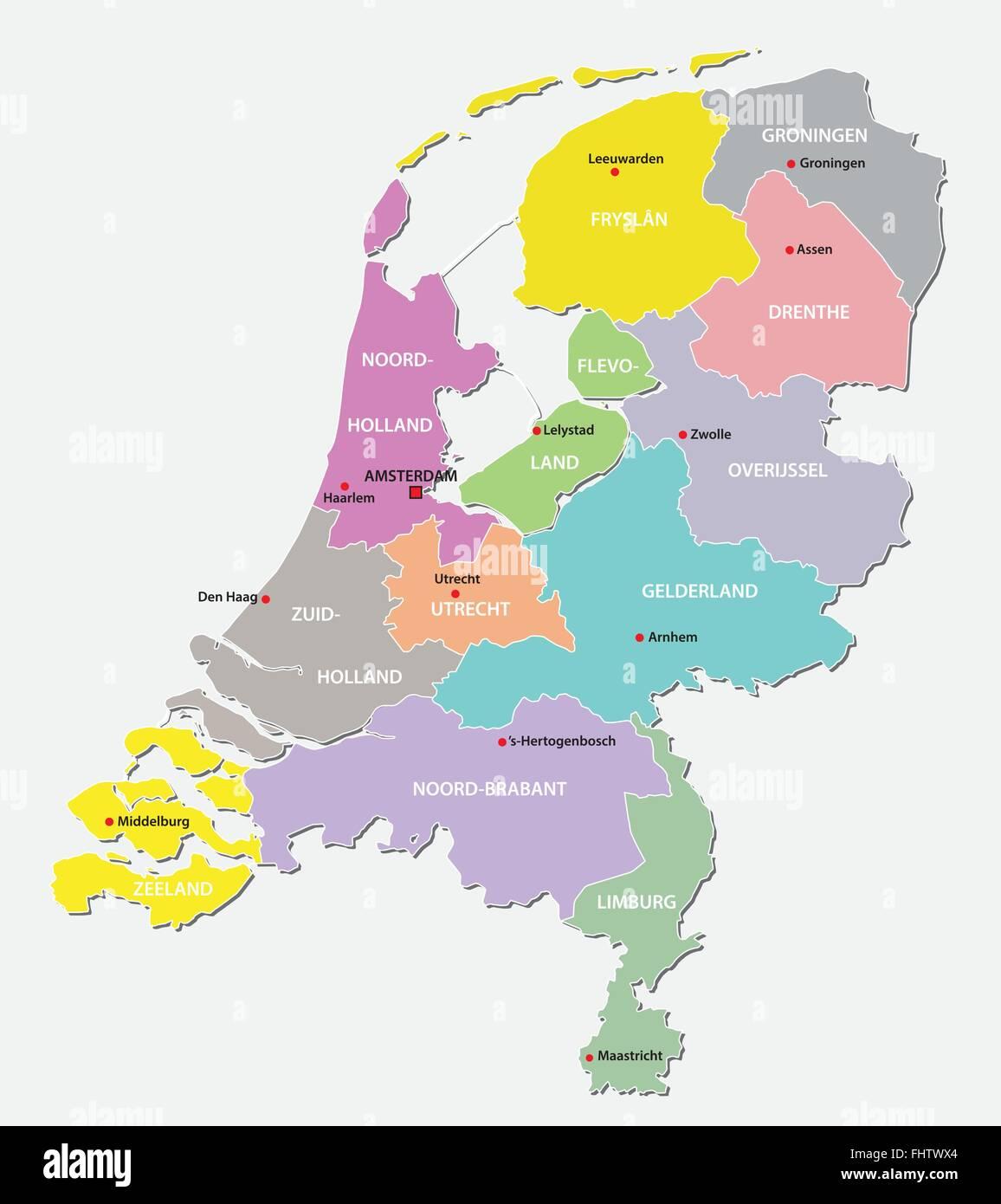 Cartina Olanda Politica.Paesi Bassi Mappa Amministrativa Immagine E Vettoriale Alamy