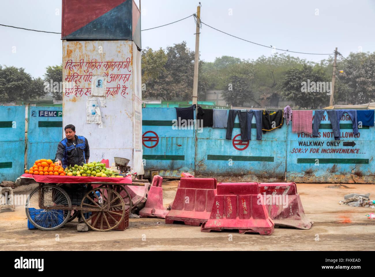 Venditore ambulante per frutta in New Delhi, India, Asia Immagini Stock