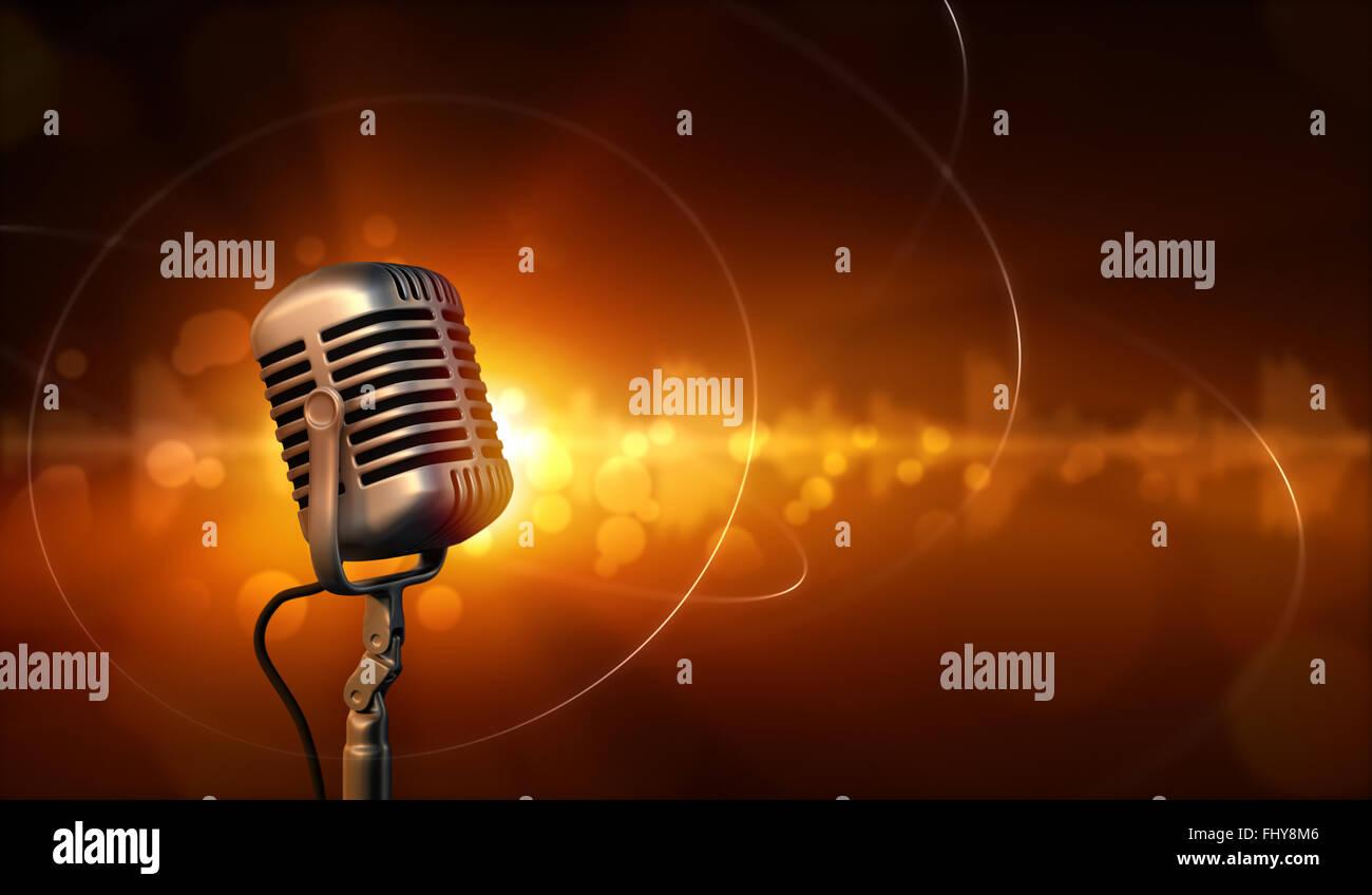 Microfono retrò e abstract sfondo con onde sonore Immagini Stock