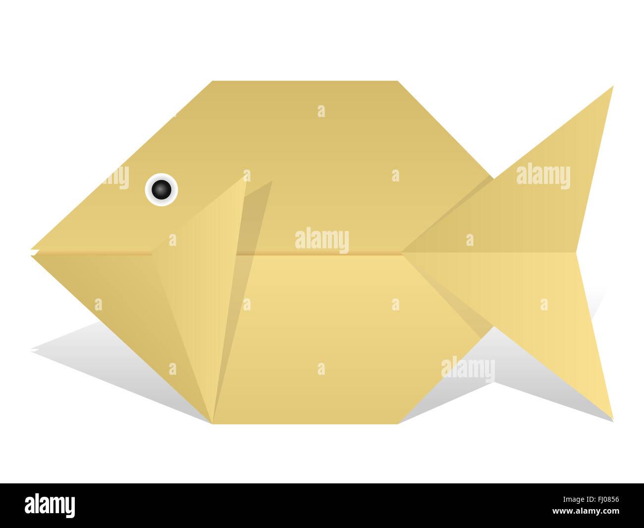 Origami Pesce Su Uno Sfondo Bianco Foto Immagine Stock 97122066