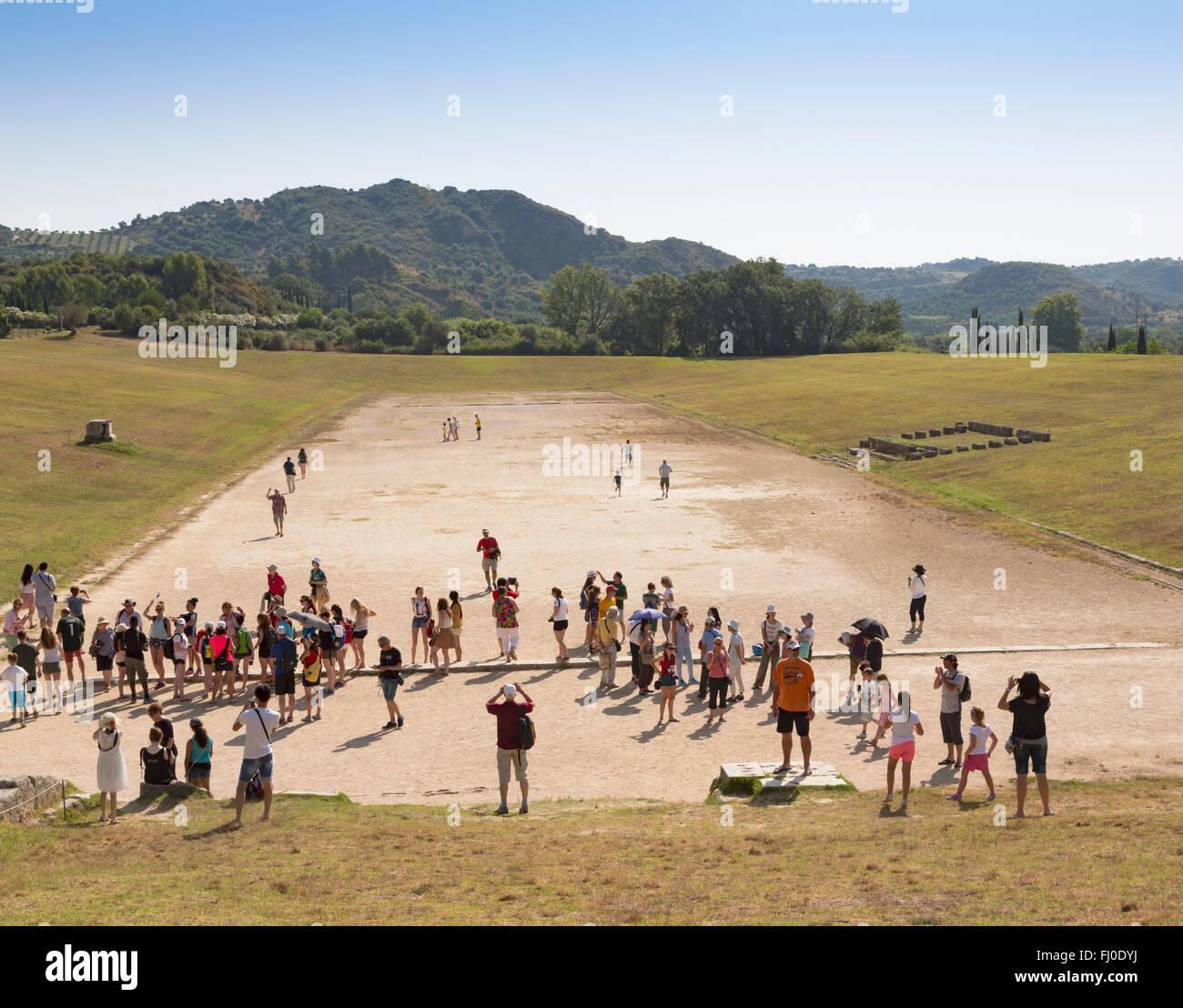 Olympia, Peloponneso e Grecia. Antica Olympia. Lo stadio dove gli eventi atletici erano detenuti. Un Foto Stock