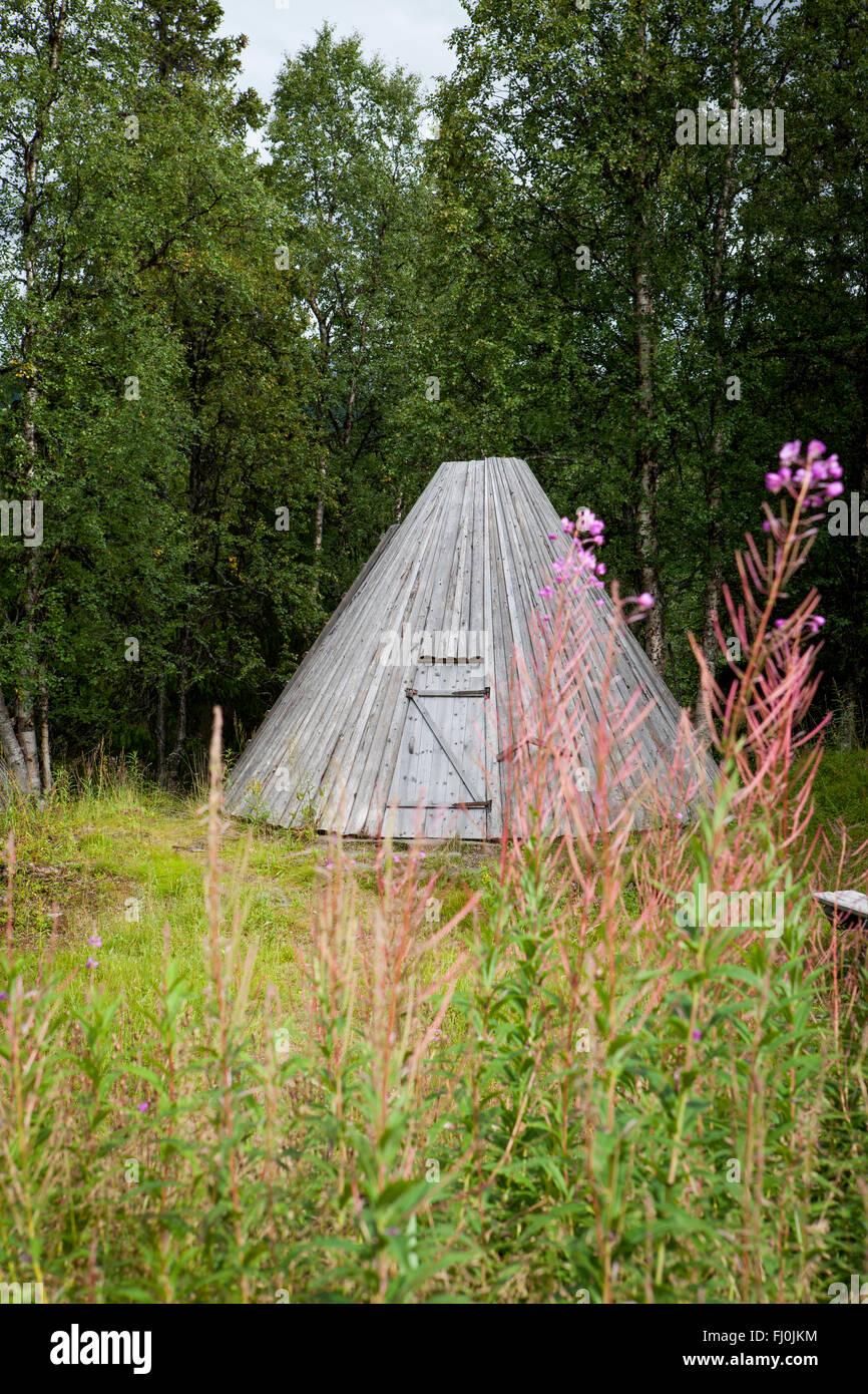 Foto di edifici Sami in Sapmi, Lapponia svedese Immagini Stock