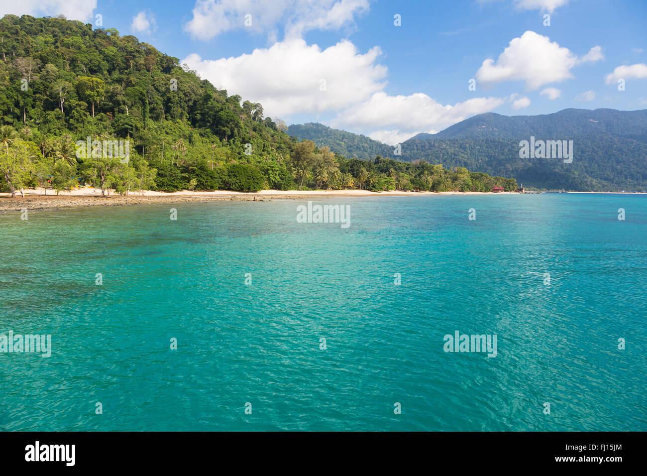 Isola di Tioman è una splendida isola tropicale della costa orientale della penisola malese. Immagini Stock