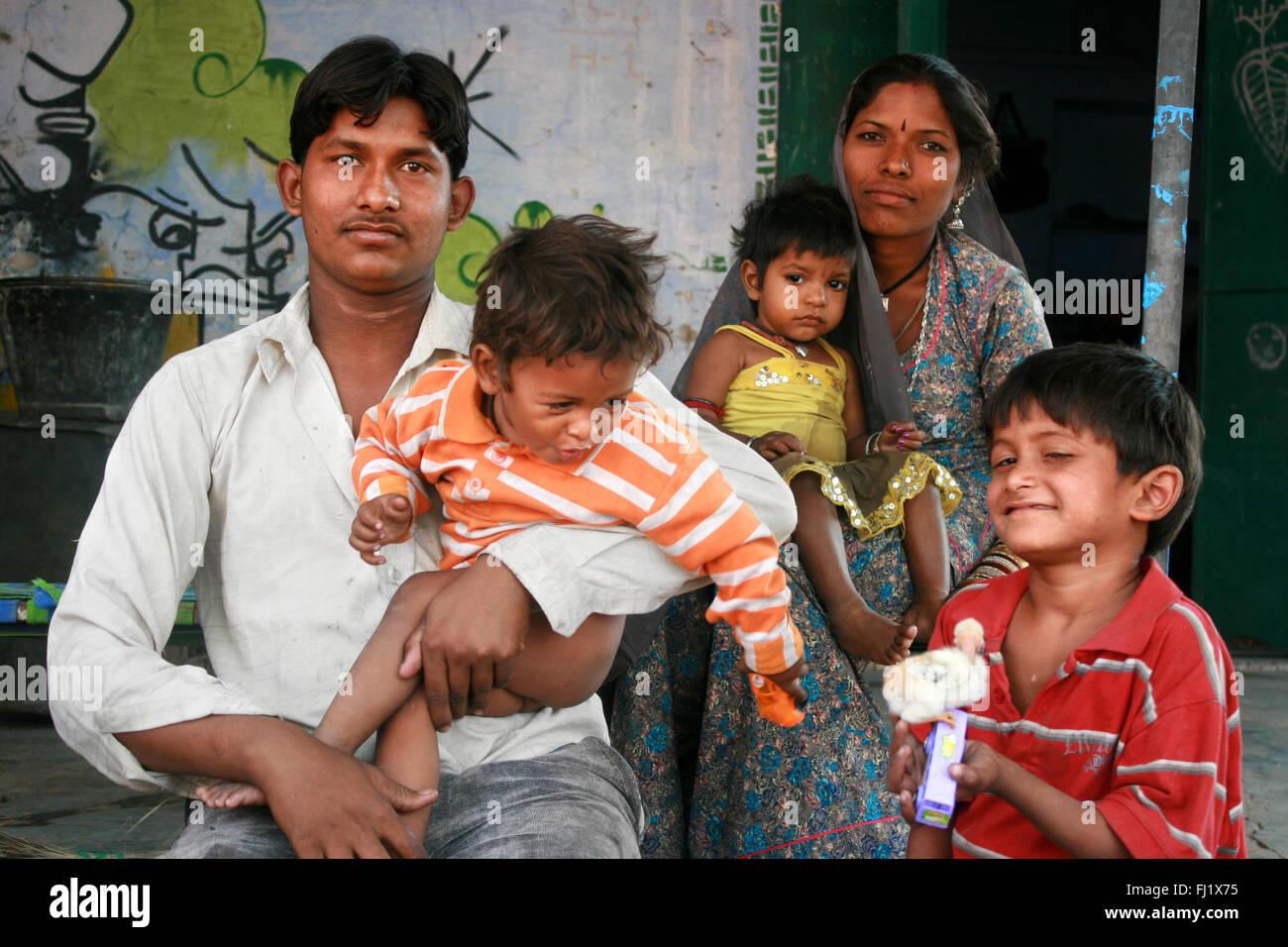 Famiglia di Rajasthani in Pushkar, India Immagini Stock