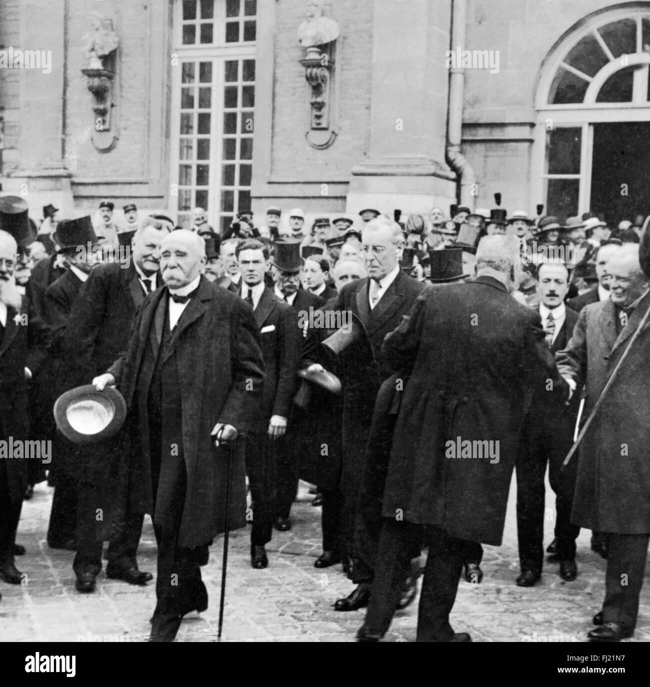 Trattato di Versaille. Il Primo ministro francese Georges Clemenceau, presidente americano Woodrow Wilson e del Immagini Stock