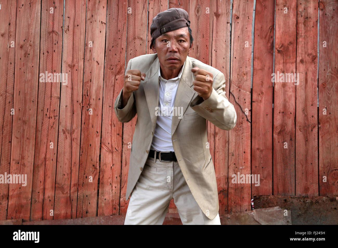 Ritratto di uomo dalla Mongolia Immagini Stock