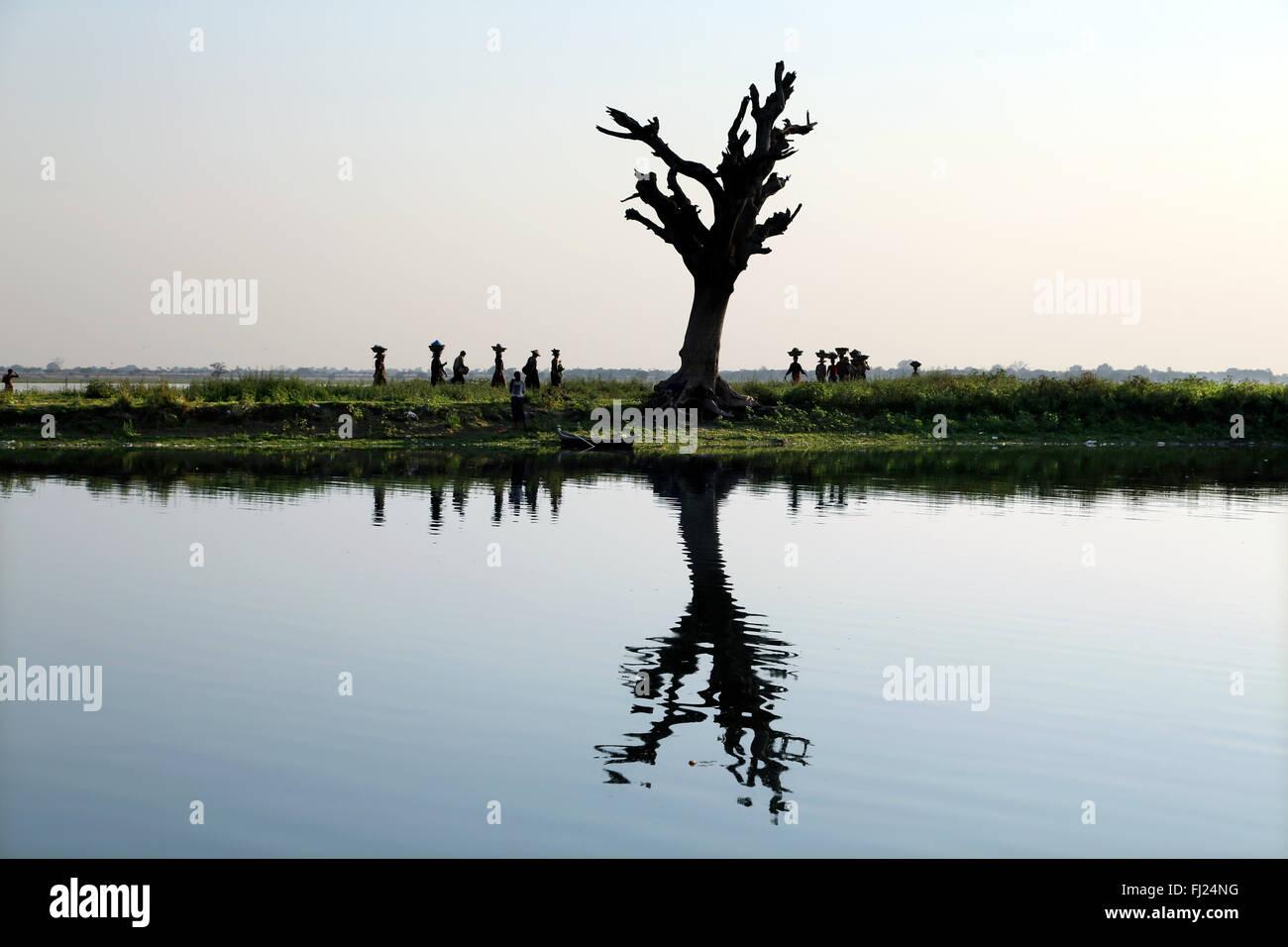 Paesaggio in Amarapura , Myanmar Immagini Stock