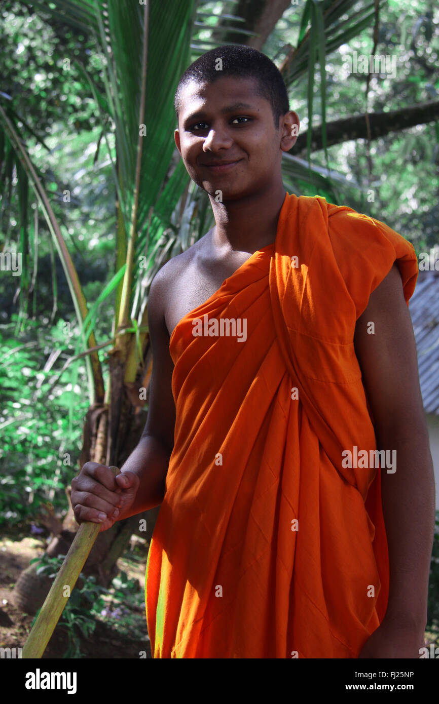 Ritratto di monaco buddista - uomo in Sri Lanka Immagini Stock