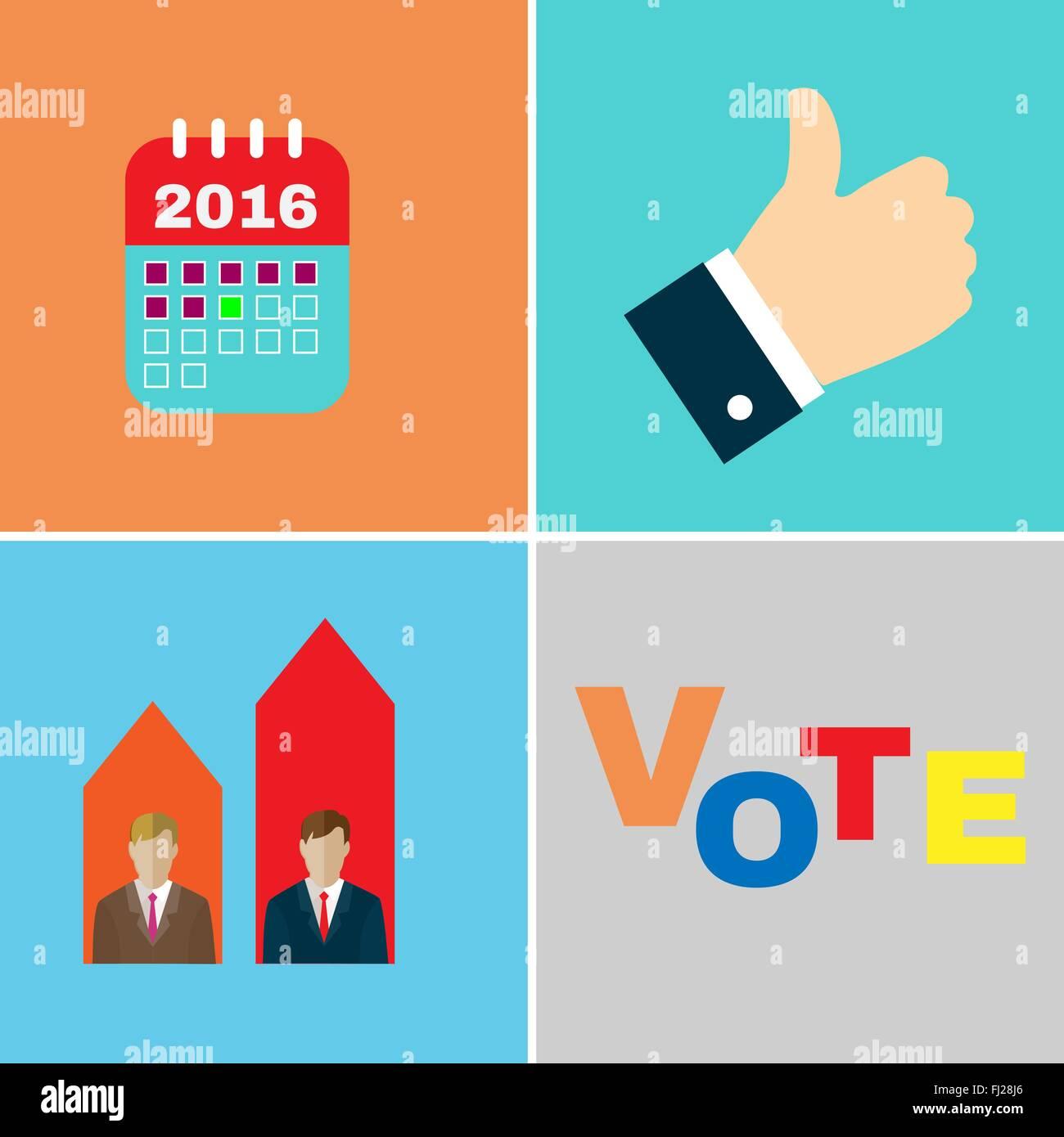 Calendario Elezioni.Campagna Elettorale Icon Set I Candidati Dibattiti Il