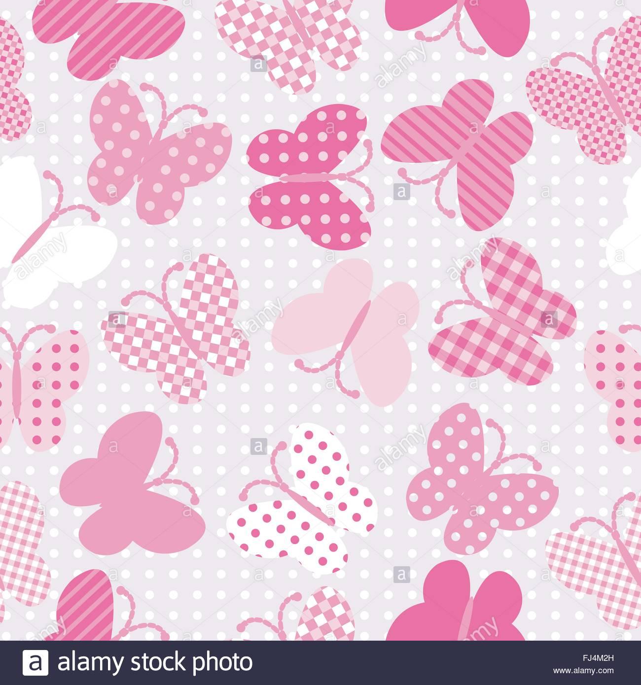 Rosa Farfalle Modellato Sullo Sfondo Senza Giunture Illustrazione