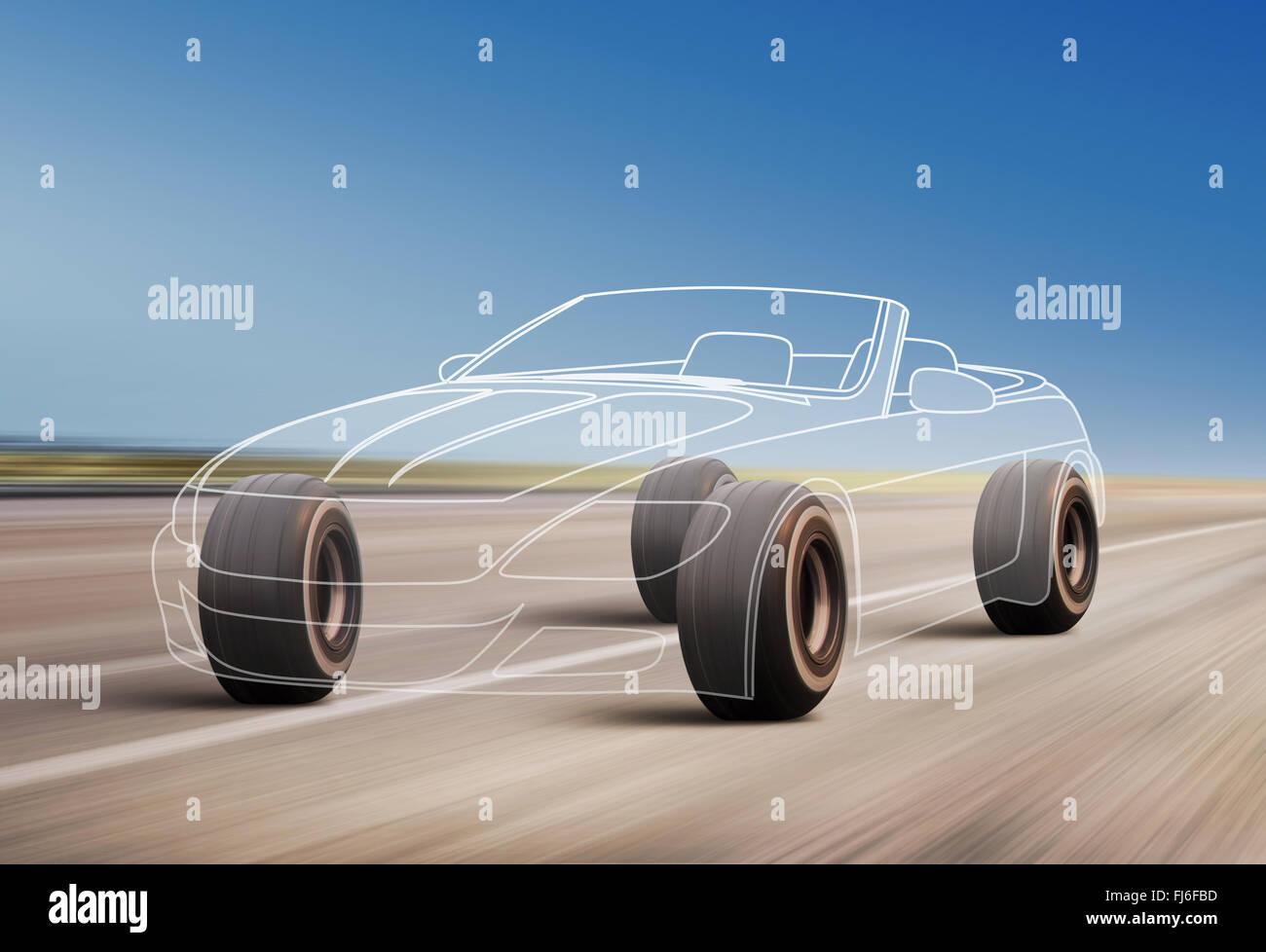 Profilo di auto e ruote precipita sulla strada con alta velocità Immagini Stock