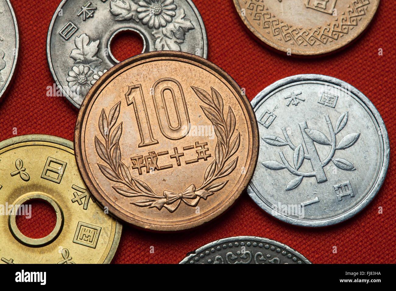 1a5dd53ce8 Monete del Giappone. 10 giapponese yen moneta Foto & Immagine Stock ...