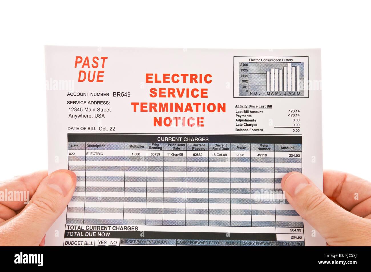Servizio di energia elettrica dovuto passato Bill Immagini Stock