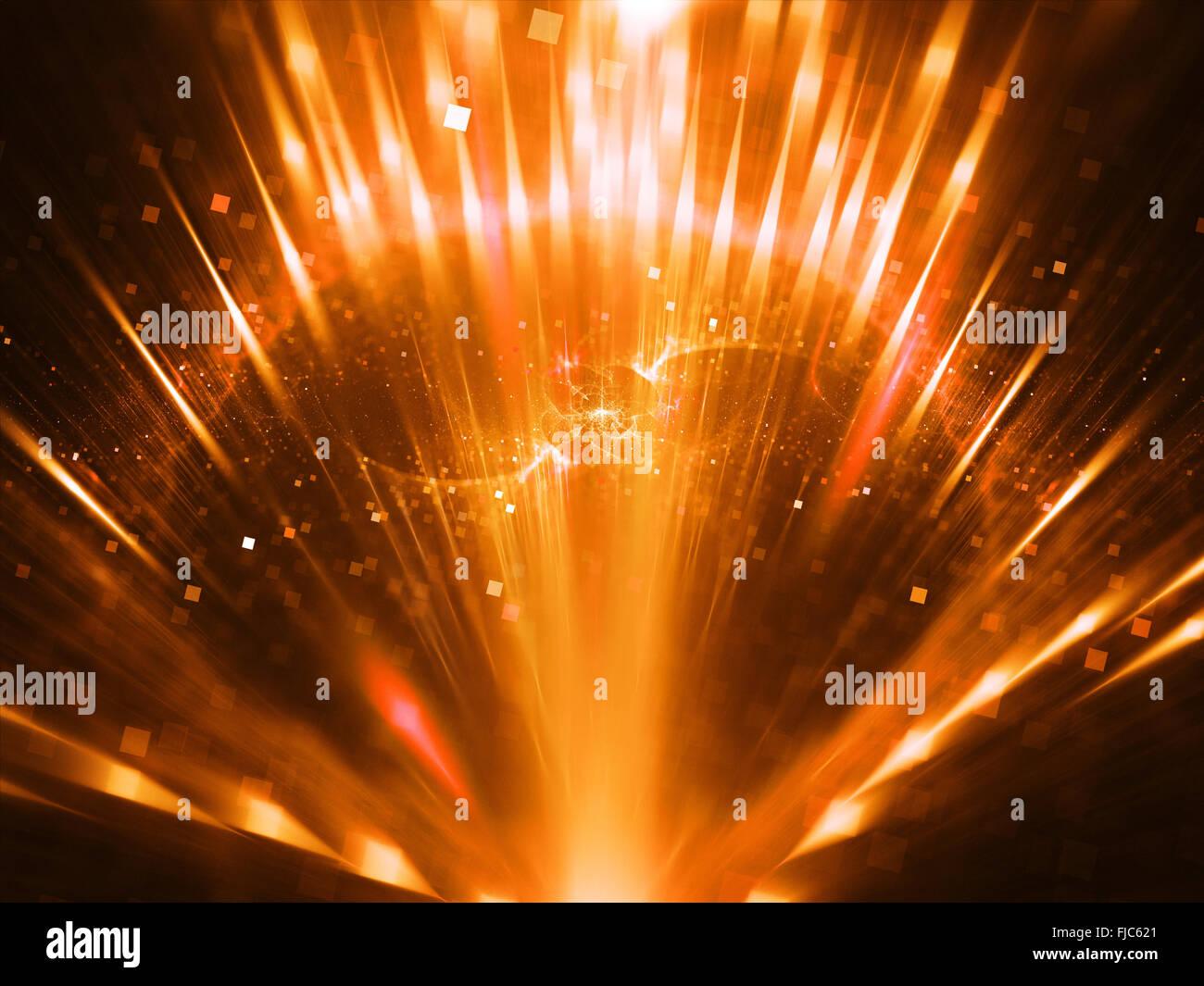 Fiery Sun con raggi, generato dal computer sfondo astratto Immagini Stock