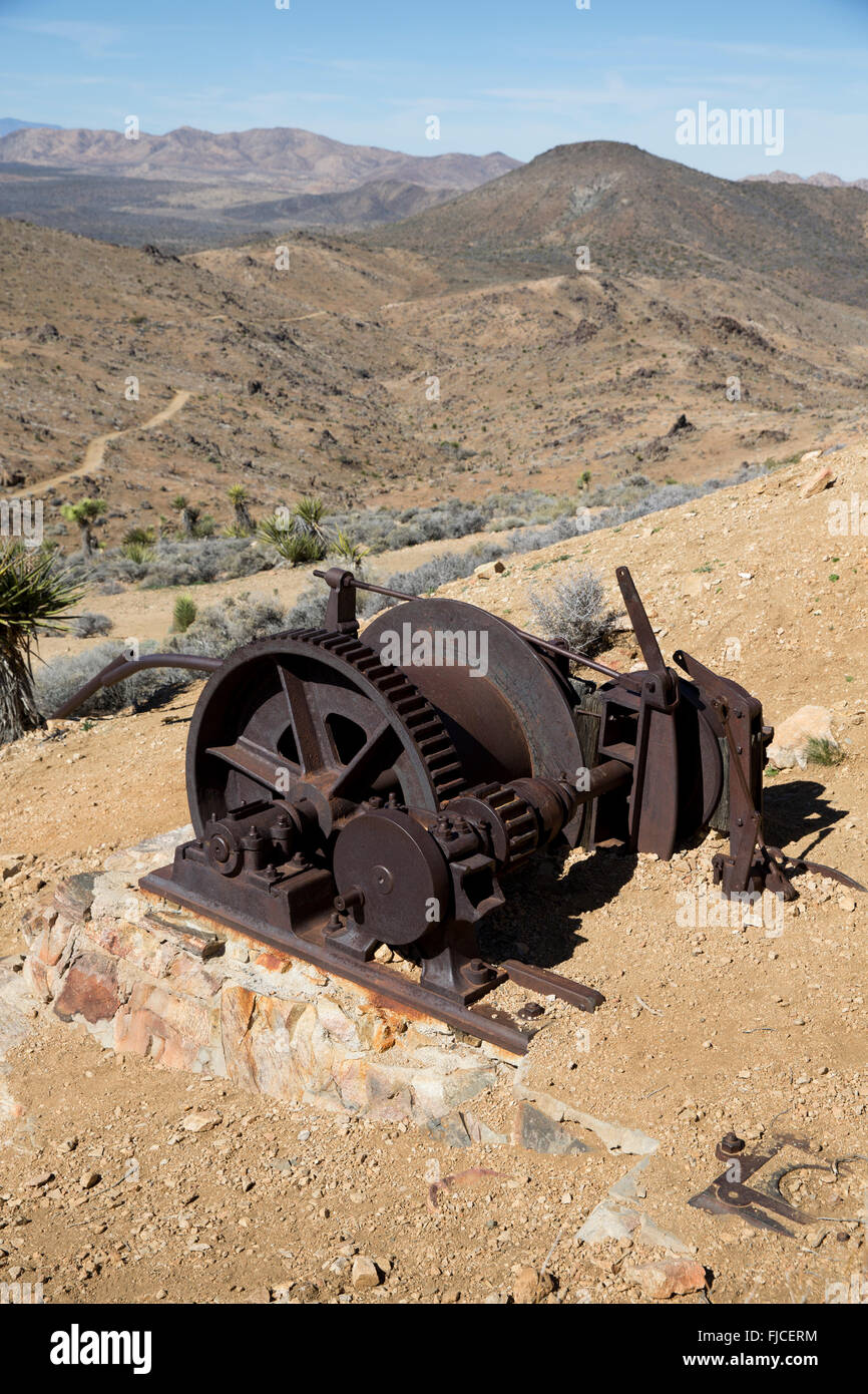 Macchinari in Lost Horse Mine, Joshua Tree National Park California USA Immagini Stock