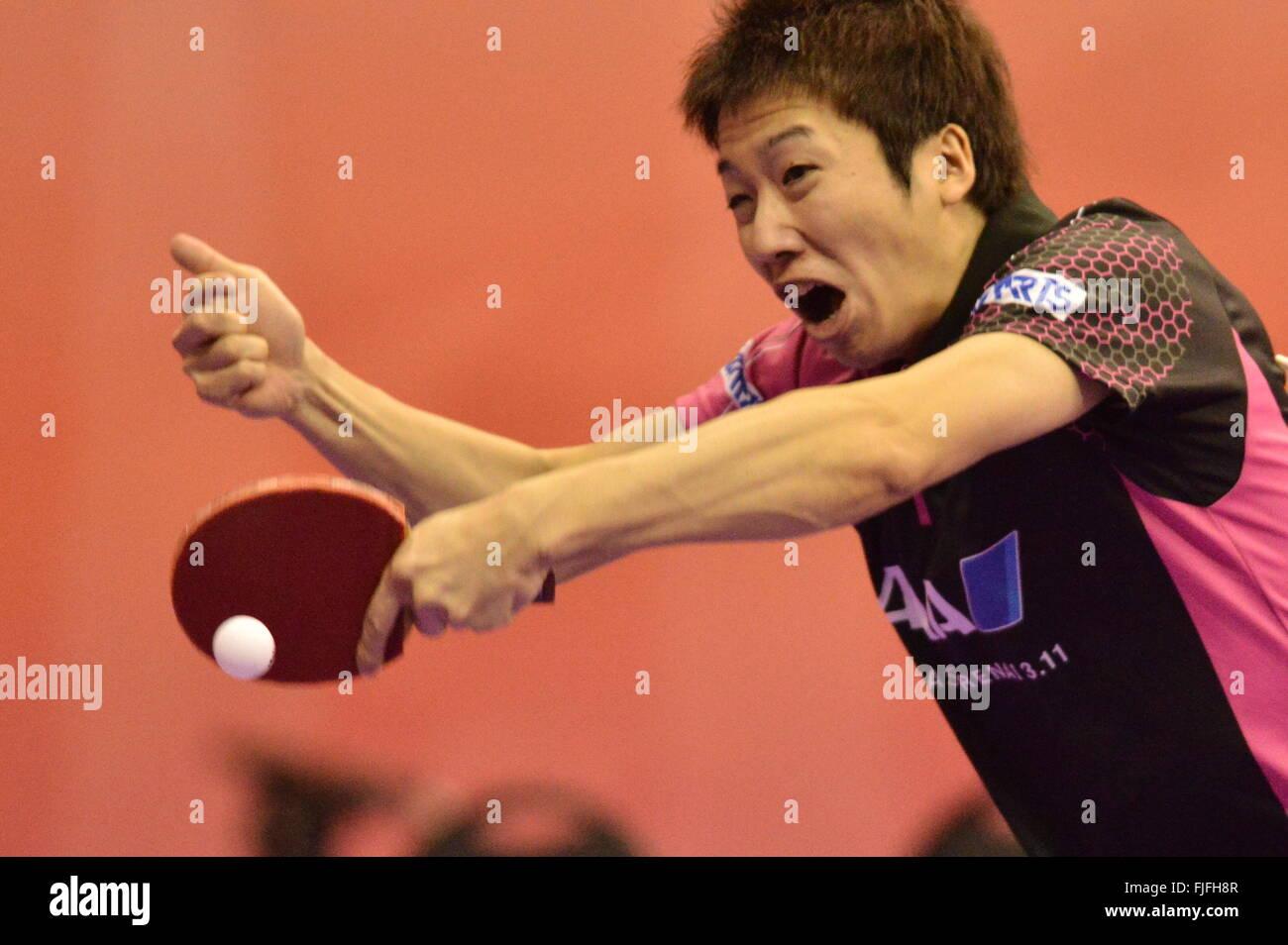 Kuala Lumpur, Malesia. 2 Mar, 2016. Mizutanio Jun del Giappone compete contro Joao del Portogallo Monteiro durante Immagini Stock