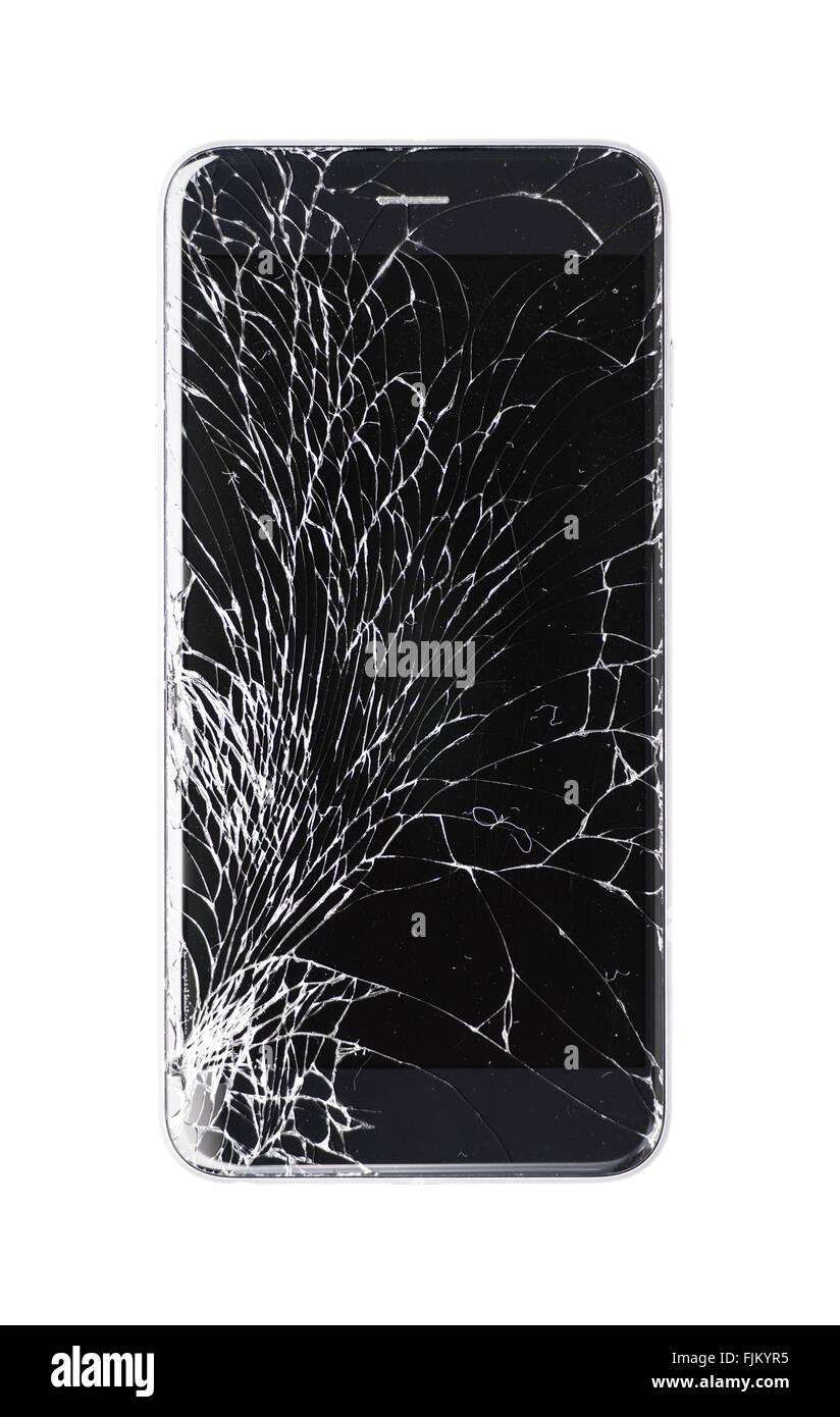 Smartphone Moderno Con Il Vetro Rotto Schermo Isolato Su Sfondo