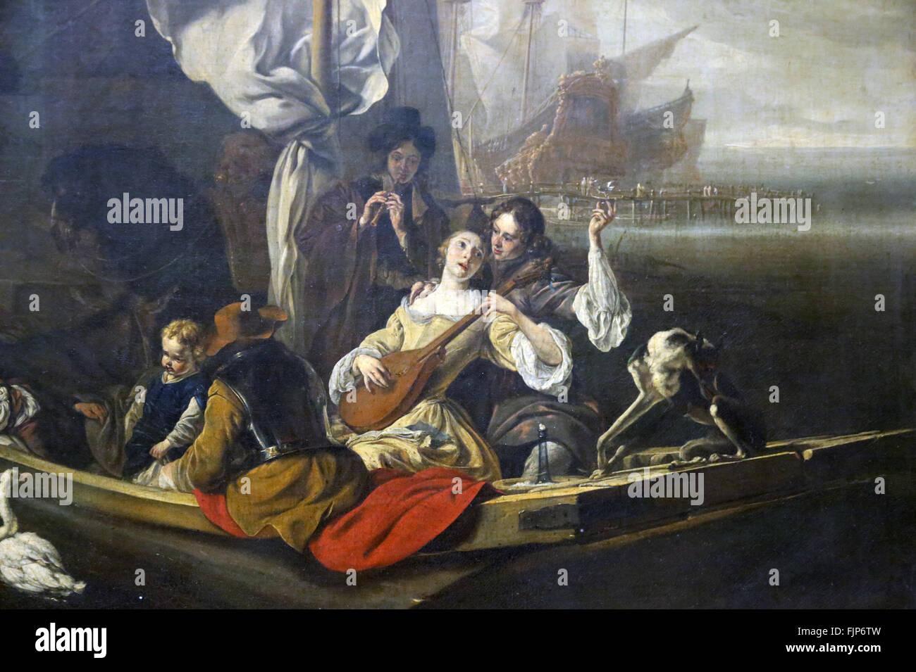 Jan Weenix (1640-1719). Pittore olandese. Carattere di fantasia in una barca, 1666. Il museo del Louvre. Parigi. Immagini Stock