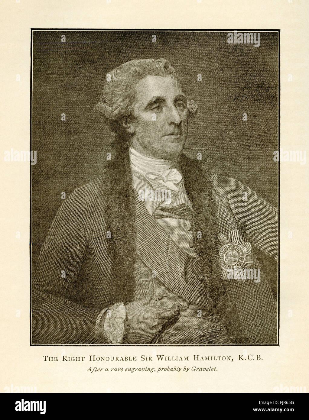 L'onorevole Sir William Hamilton, K.C.B., da una incisione probabilmente da Hubert-François Bourguignon Immagini Stock