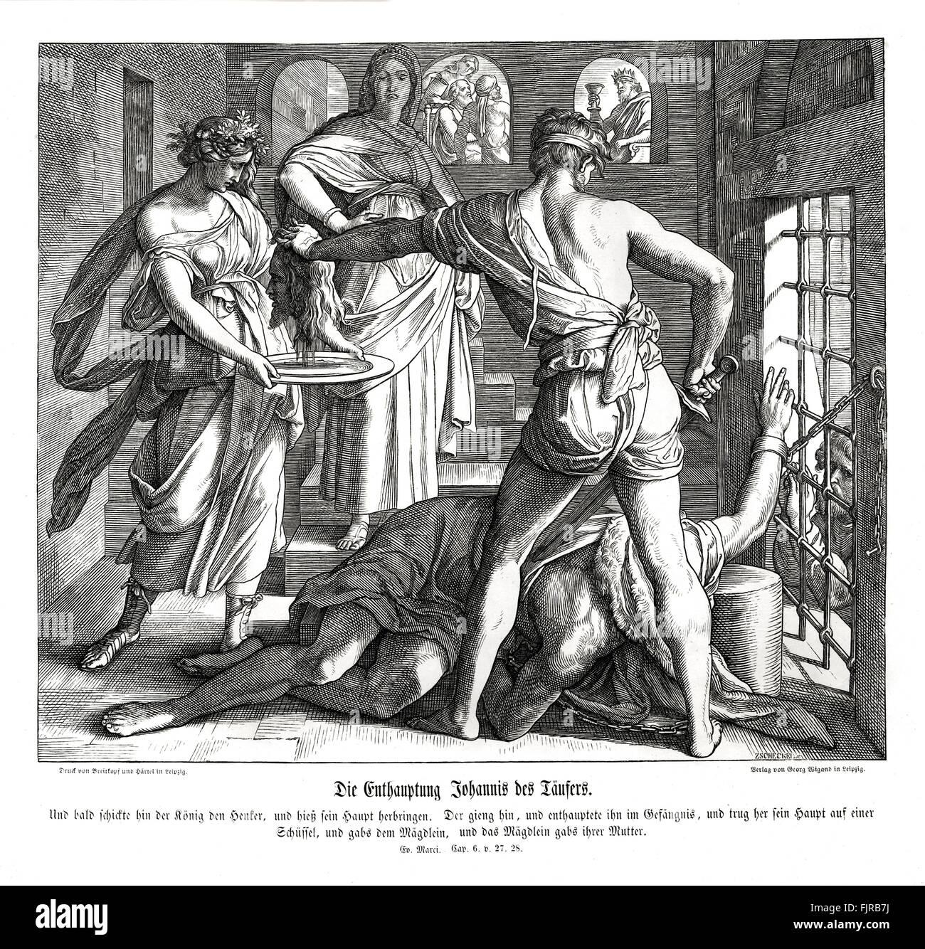 Giovanni Battista è decapitato presso la richiesta di vendetta di Salome, Vangelo di Marco CAPITOLO VI versi Immagini Stock