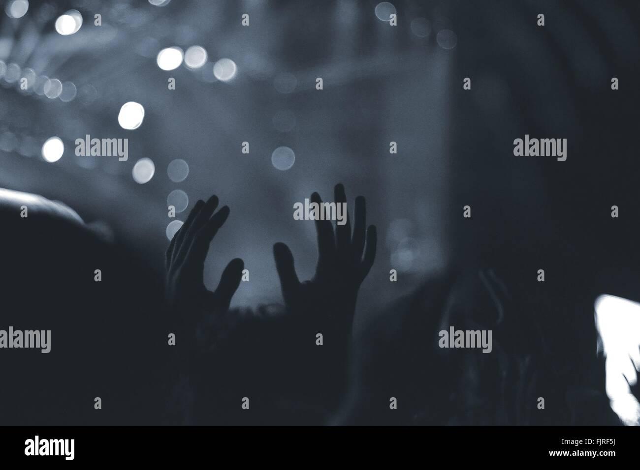 La folla con le braccia sollevate in concerto di musica Immagini Stock