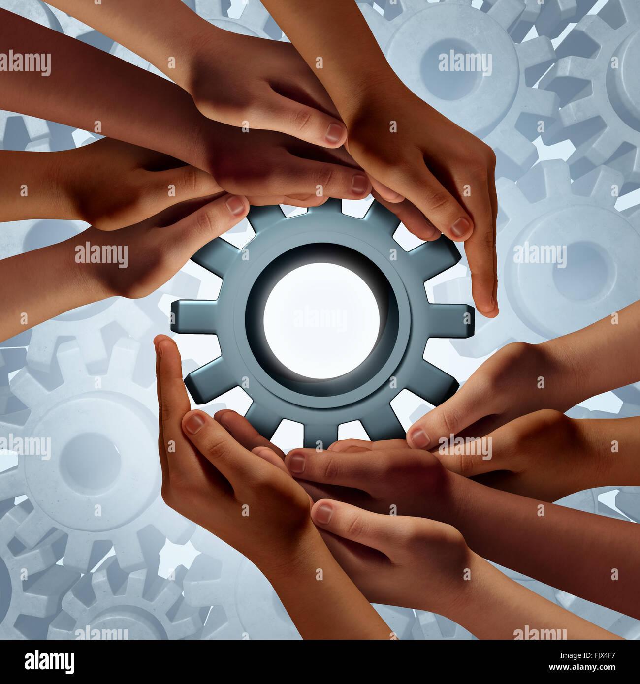 Global engineering e diverse comunità di successo aziendale come simbolo di un gruppo di mani tenendo un ingranaggio Immagini Stock