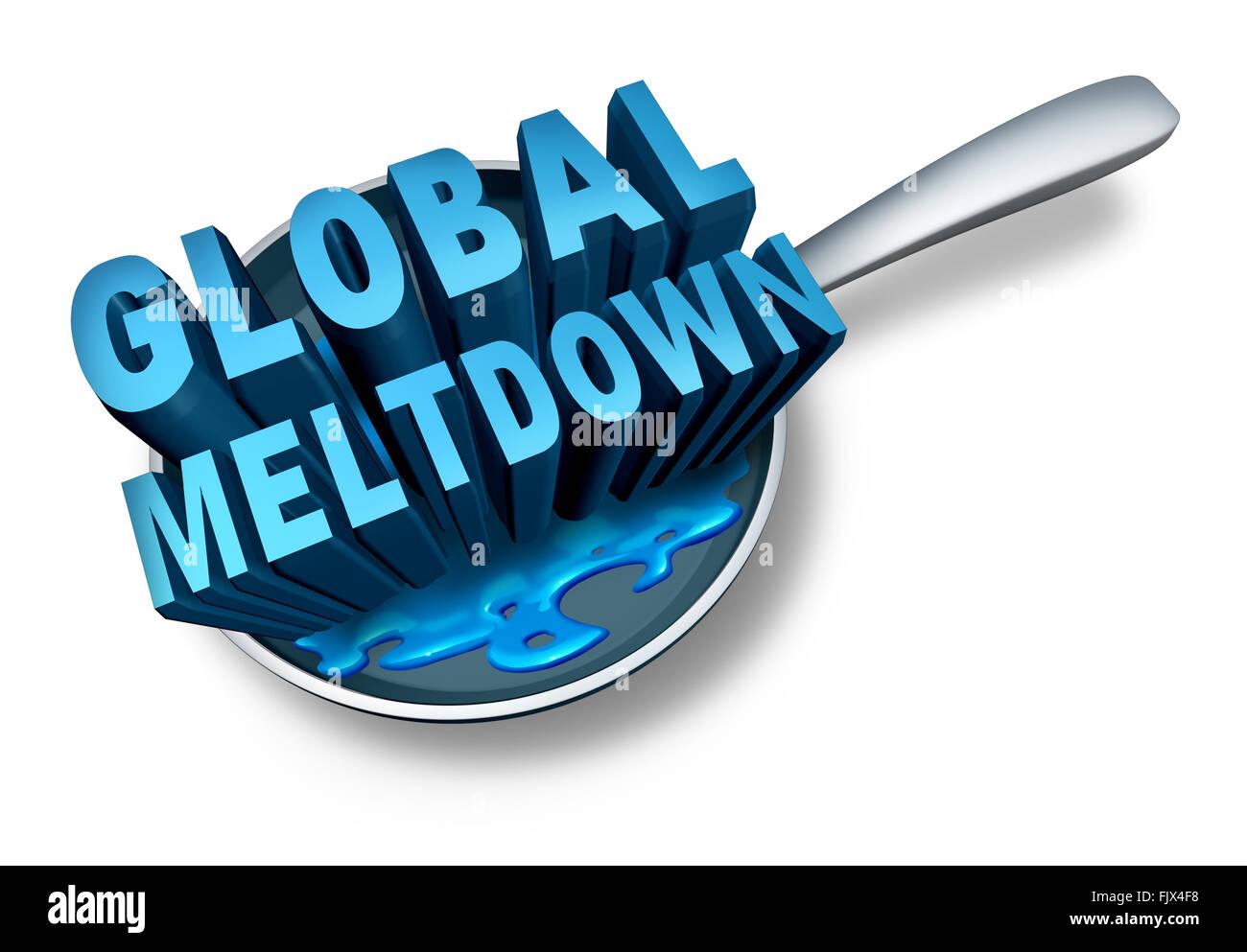 Meltdown globale e la crisi finanziaria come un fallimento finanza nozione come un' economia in difficoltà Immagini Stock